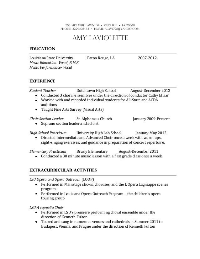 music education resume