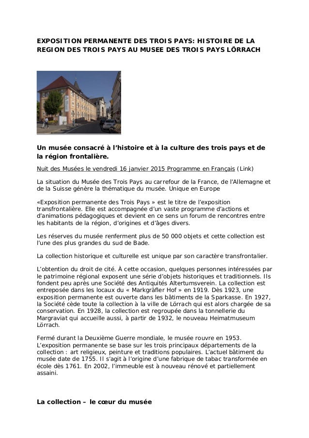 EXPOSITION PERMANENTE DES TROIS PAYS: HISTOIRE DE LA REGION DES TROIS PAYS AU MUSEE DES TROIS PAYS LÖRRACH Un musée consac...