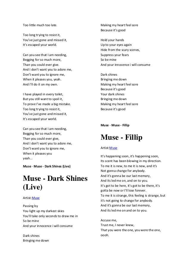 Lyric much more lyrics : Muse lyric