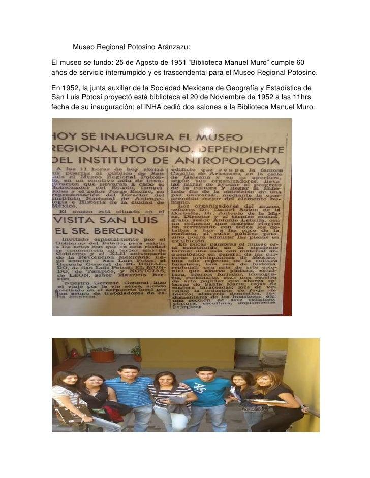 """Museo Regional Potosino Aránzazu:<br />El museo se fundo: 25 de Agosto de 1951 """"Biblioteca Manuel Muro"""" cumple 60 años de ..."""