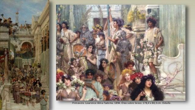 Travesura y reposo. John William Godward. 1895. Óleo sobre lienzo. 60,6 × 133 cm.