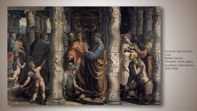 Curación del hombre cojo. Rafael Sanzio. Témpera sobre papel, montado sobre lienzo. 1515-1516.