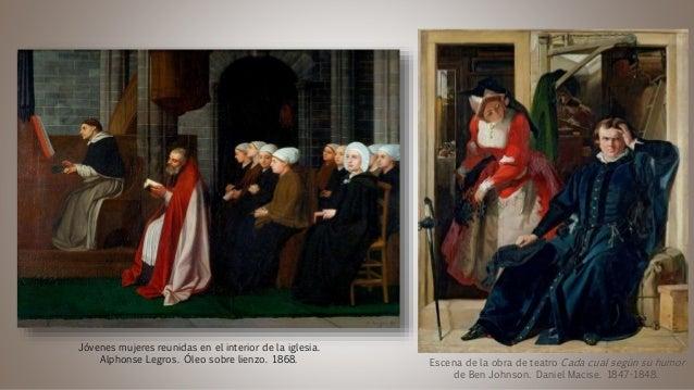Escena de la obra de teatro Cada cual según su humor de Ben Johnson. Daniel Macise. 1847-1848. Jóvenes mujeres reunidas en...