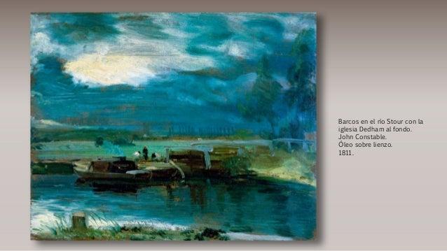 Barcos en el río Stour con la iglesia Dedham al fondo. John Constable. Óleo sobre lienzo. 1811.