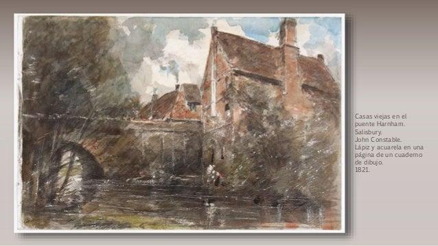 Casas viejas en el puente Harnham. Salisbury. John Constable. Lápiz y acuarela en una página de un cuaderno de dibujo. 182...