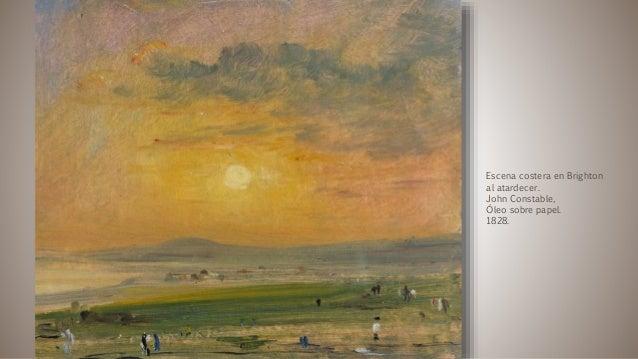 Escena costera en Brighton al atardecer. John Constable, Óleo sobre papel. 1828.