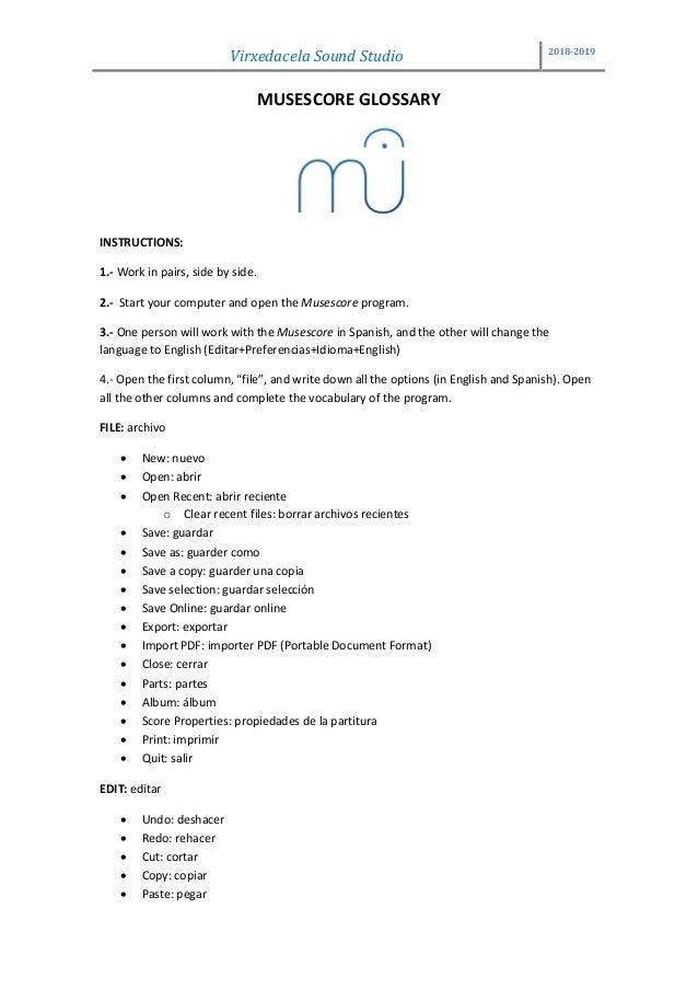 Musescore glossary