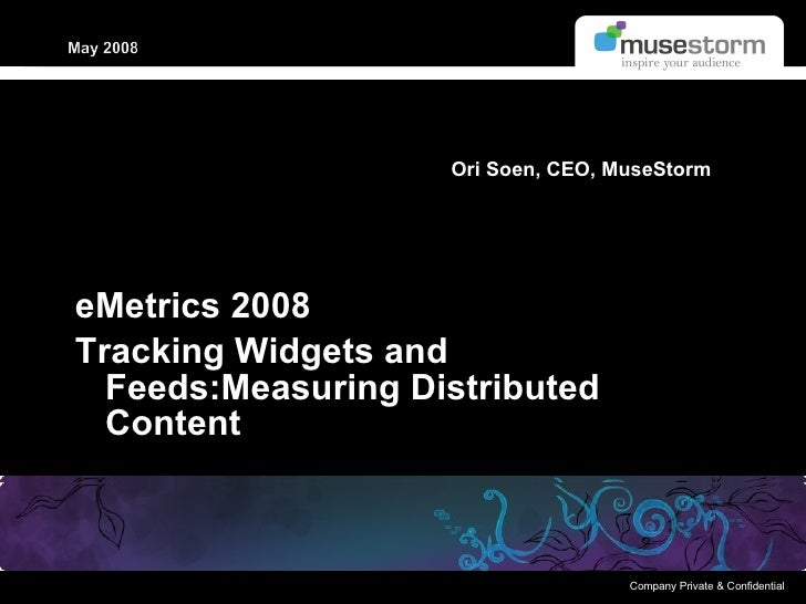 eMetrics 2008 Tracking Widgets and Feeds:Measuring Distributed Content Ori Soen, CEO, MuseStorm