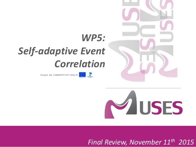 Project No. 318508 FP7-ICT-2011-8 Final Review, November 11th 2015 WP5: Self-adaptive Event Correlation