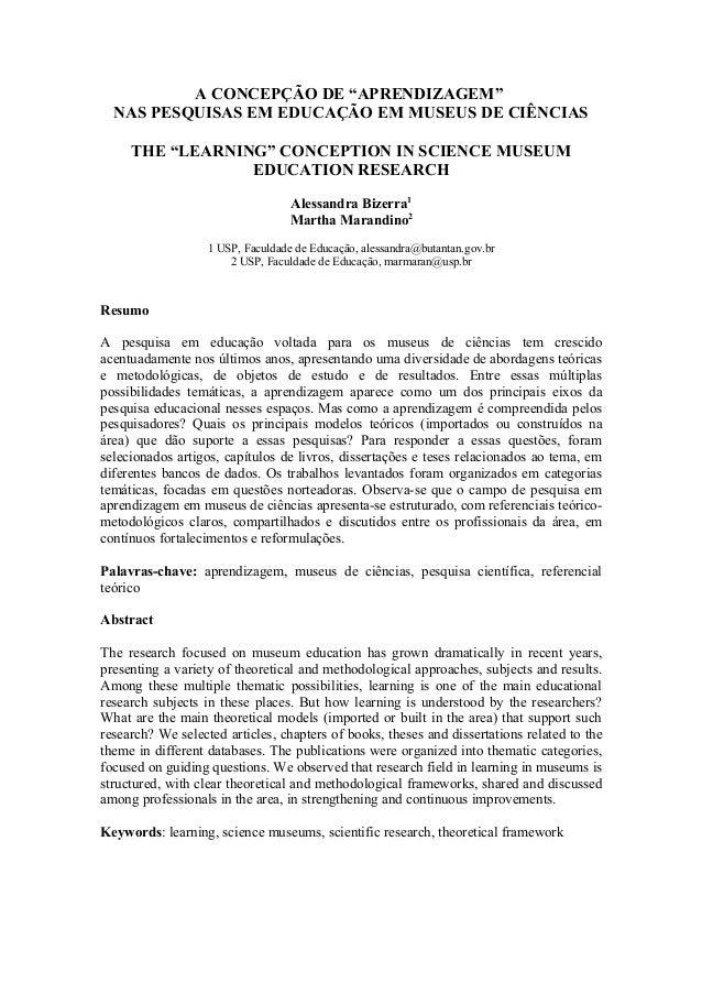 """A CONCEPÇÃO DE """"APRENDIZAGEM"""" NAS PESQUISAS EM EDUCAÇÃO EM MUSEUS DE CIÊNCIAS THE """"LEARNING"""" CONCEPTION IN SCIENCE MUSEUM ..."""