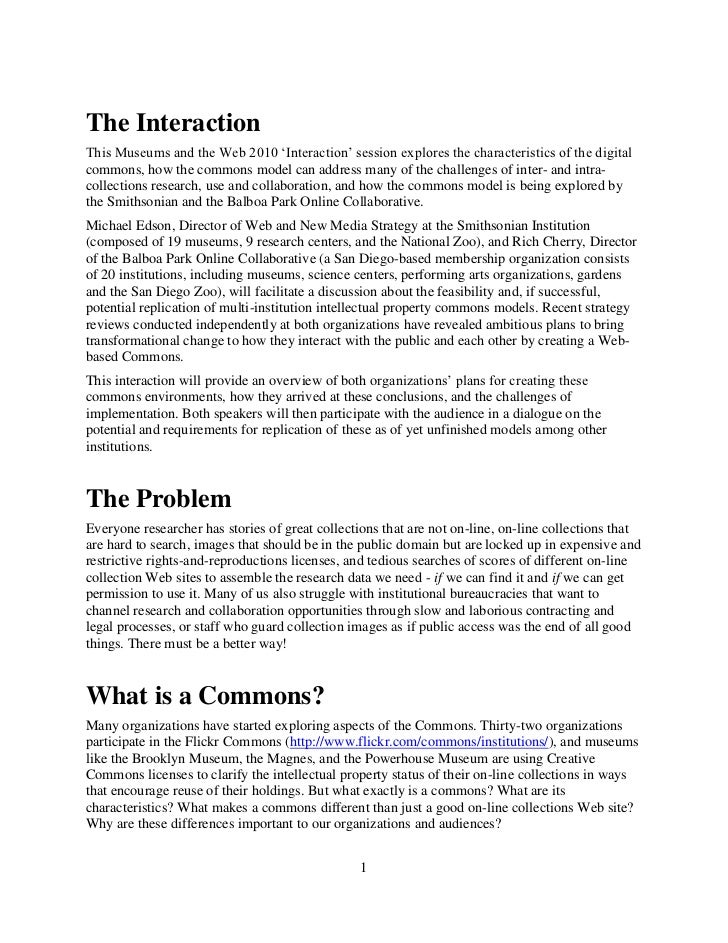Museum Commons: A professional interaction (Museums and the Web 2010, Michael Edson and Rich Cherry)
