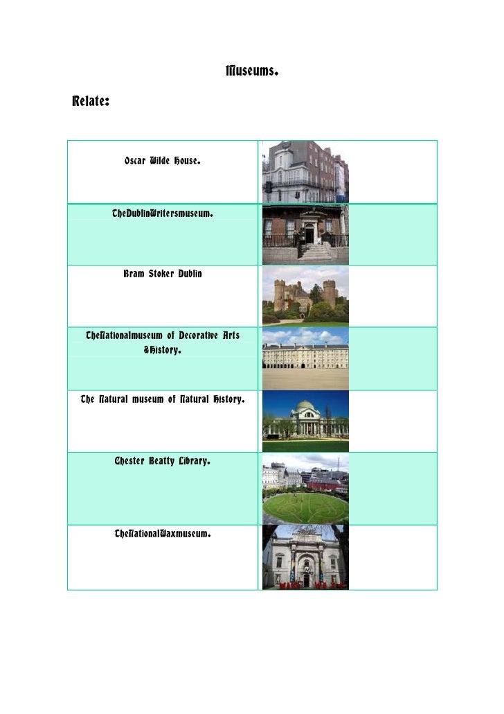Museums.Relate:            Oscar Wilde House.          TheDublinWritersmuseum.            Bram Stoker Dublin  TheNationalm...