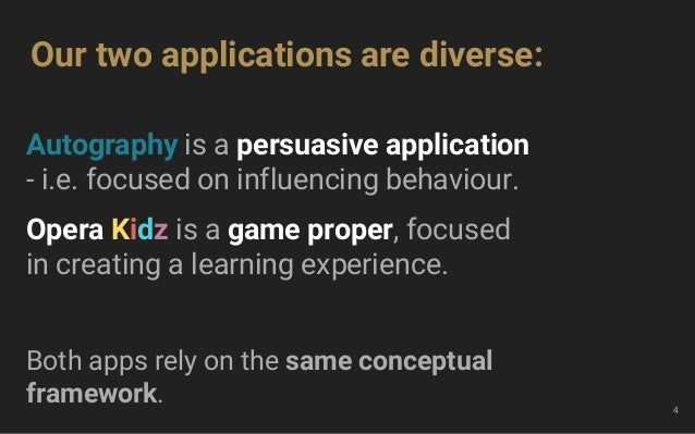 Autography is a persuasive application - i.e. focused on influencing behaviour. Opera Kidz is a game proper, focused in cr...