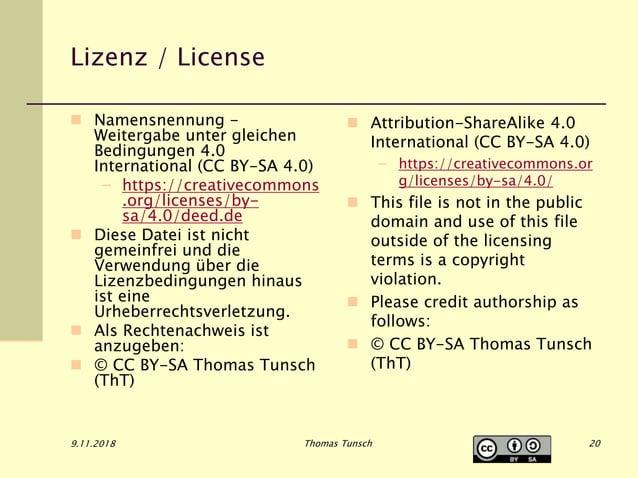 Lizenz / License  Namensnennung - Weitergabe unter gleichen Bedingungen 4.0 International (CC BY-SA 4.0) – https://creati...