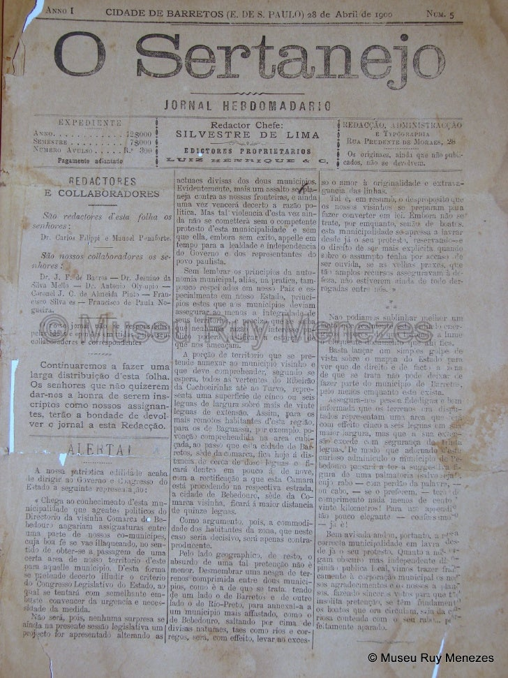 O Sertanejo 28/04/1900 Museu Ruy Menezes