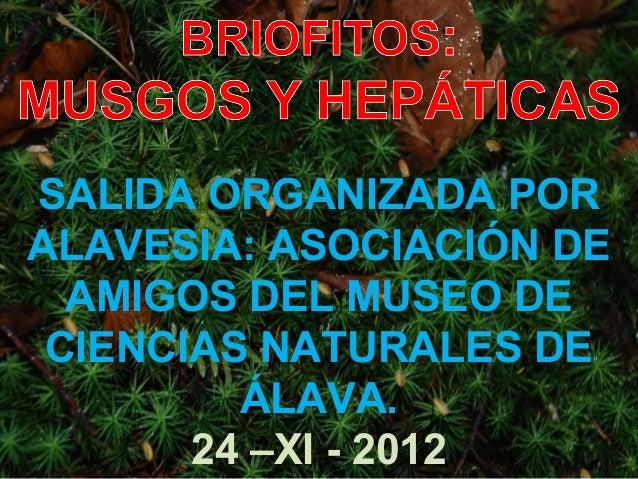 SALIDA ORGANIZADA PORALAVESIA: ASOCIACIÓN DE  AMIGOS DEL MUSEO DE CIENCIAS NATURALES DE         ÁLAVA.       24 –XI - 2012