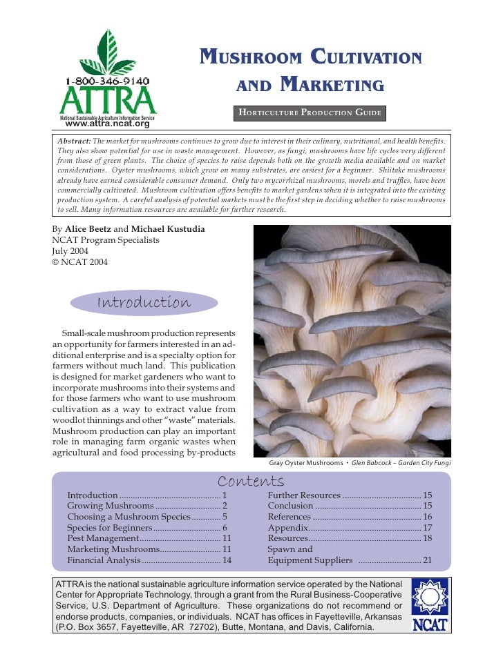 MUSHROOM CULTIVATION                                                            AND MARKETING  National Sustainable Agricu...