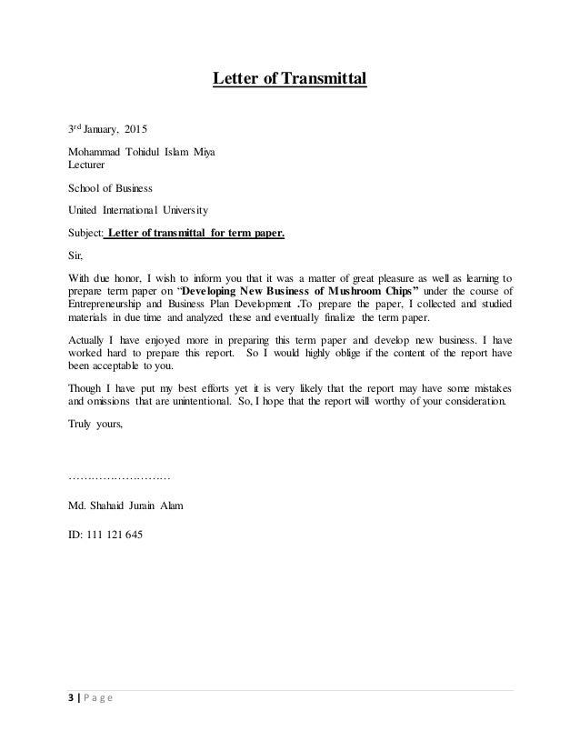 letter of transmittals