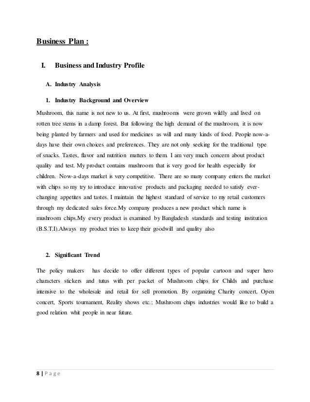 Business Plan On Mushroom Chips - Manufacturing business plan template