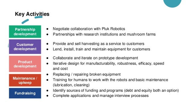Key Activities ● Negotiate collaboration with Pluk Robotics ● Partnerships with research institutions and mushroom farms M...