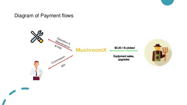 Diagram of Payment flows MushroomX $0.20 / lb picked Equipment sales, upgrades