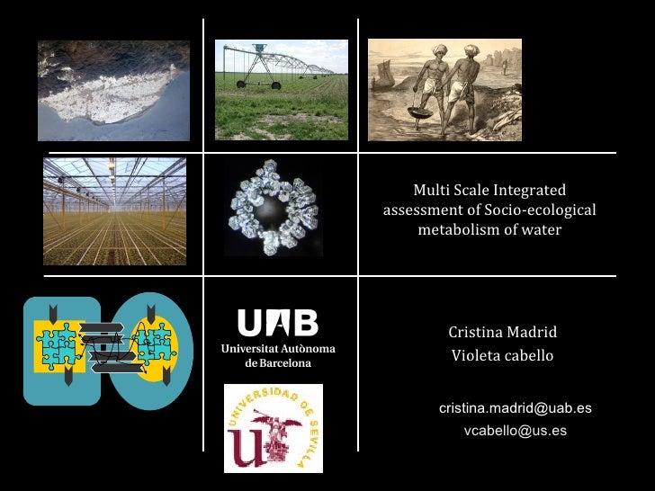Multi Scale Integratedassessment of Socio-ecological     metabolism of water         Cristina Madrid         Violeta cabel...