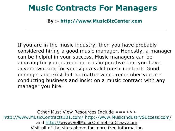 music contracts for managers by http www