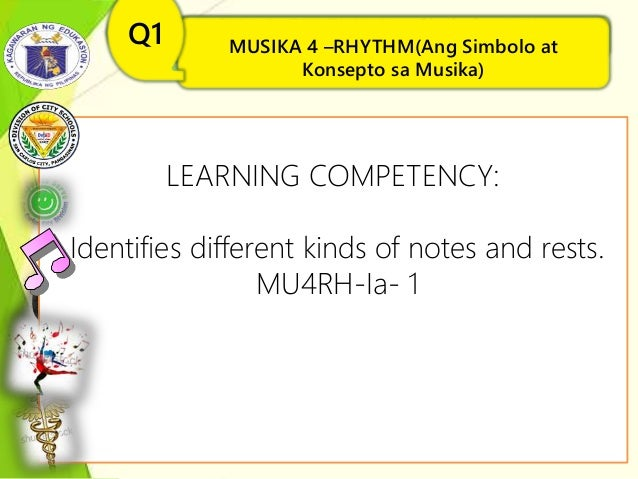 MUSIKA 4 –RHYTHM(Ang Simbolo at Konsepto sa Musika) Q1 LEARNING COMPETENCY: Identifies different kinds of notes and rests....