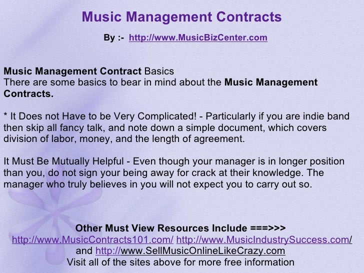Music Manager Contract  BesikEightyCo
