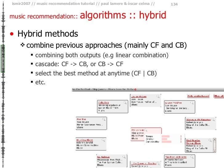 music recommendation::  algorithms :: hybrid <ul><li>Hybrid methods </li></ul><ul><ul><li>combine previous approaches (mai...