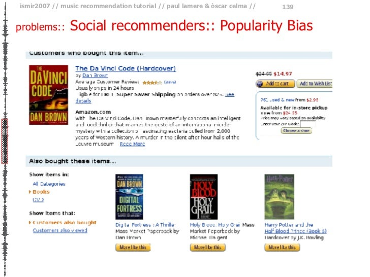 problems::   Social recommenders:: Popularity Bias