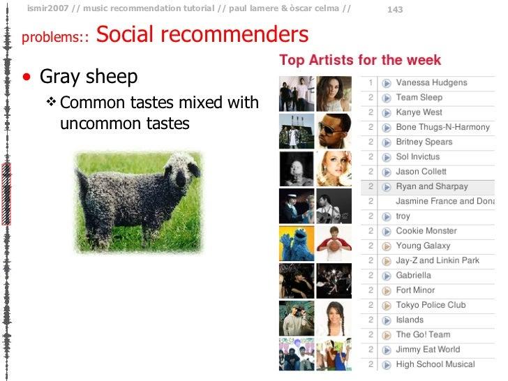problems::  Social recommenders <ul><li>Gray sheep </li></ul><ul><ul><li>Common tastes mixed with uncommon tastes </li></u...