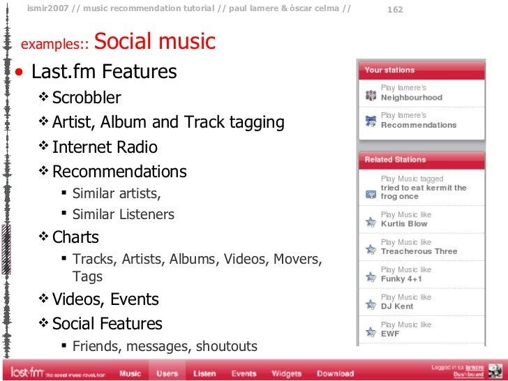<ul><li>Last.fm Features </li></ul><ul><ul><li>Scrobbler  </li></ul></ul><ul><ul><li>Artist, Album and Track tagging </li>...