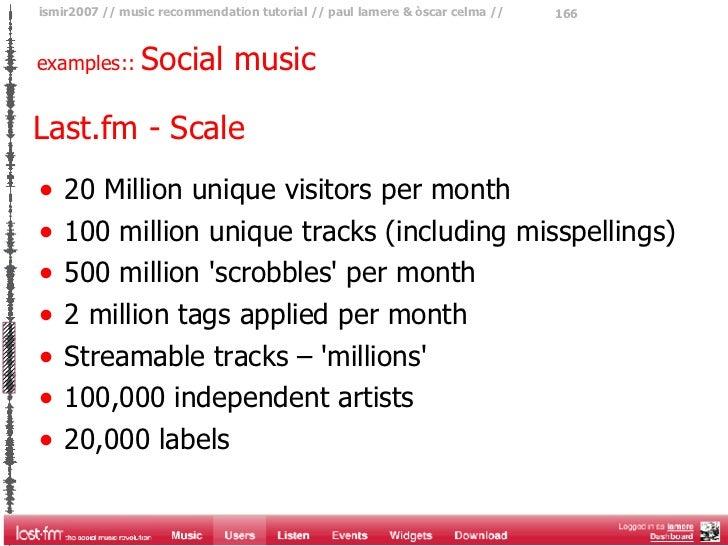 examples::  Social music  Last.fm - Scale <ul><li>20 Million unique visitors per month </li></ul><ul><li>100 million uniqu...