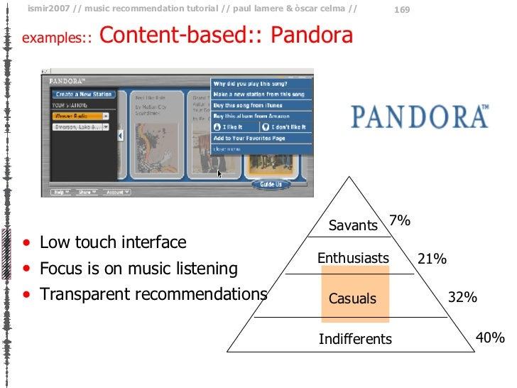 <ul><li>Low touch interface </li></ul><ul><li>Focus is on music listening </li></ul><ul><li>Transparent recommendations </...