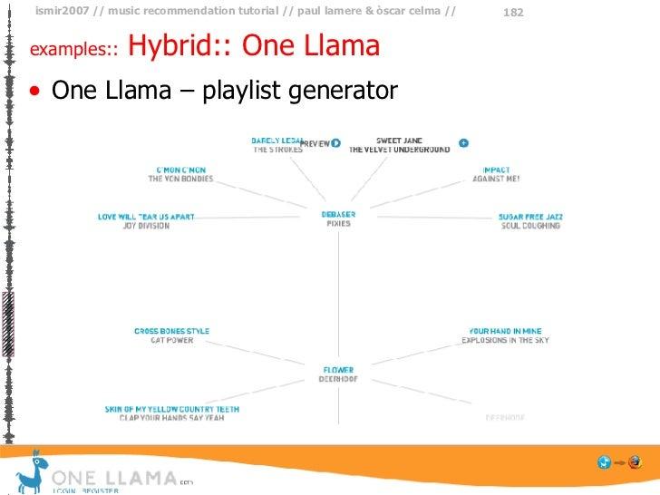 examples::  Hybrid:: One Llama <ul><li>One Llama – playlist generator </li></ul>