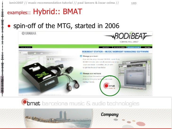 examples::  Hybrid:: BMAT <ul><li>spin-off of the MTG, started in 2006 </li></ul>