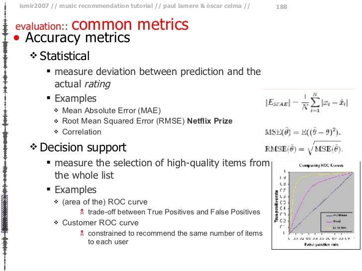 evaluation::  common metrics <ul><li>Accuracy metrics </li></ul><ul><ul><li>Statistical </li></ul></ul><ul><ul><ul><li>mea...