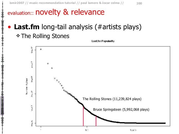 evaluation::  novelty & relevance <ul><li>Last.fm  long-tail analysis (#artists plays) </li></ul><ul><ul><li>The Rolling S...