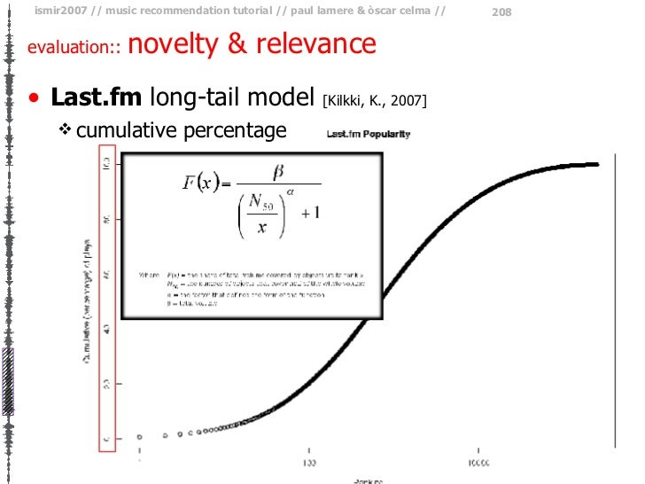 evaluation::  novelty & relevance <ul><li>Last.fm  long-tail model   [Kilkki, K., 2007] </li></ul><ul><ul><li>cumulative p...
