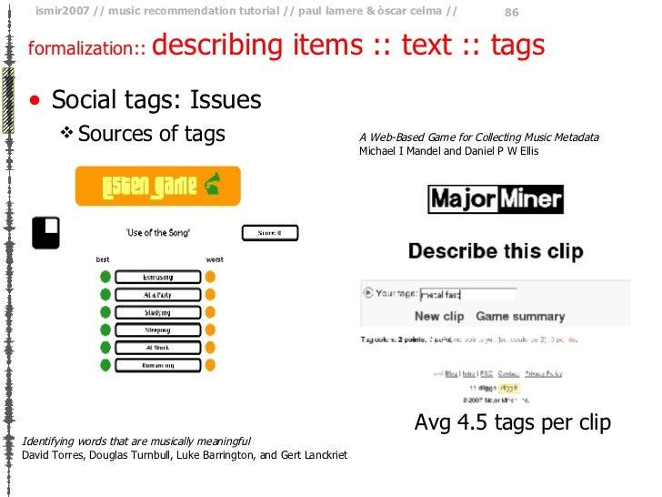 formalization ::  describing items :: text :: tags <ul><li>Social tags: Issues </li></ul><ul><ul><li>Sources of tags </li>...