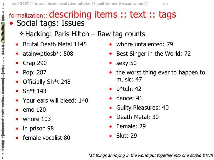 formalization ::  describing items :: text :: tags <ul><li>Social tags: Issues </li></ul><ul><ul><li>Hacking: Paris Hilton...