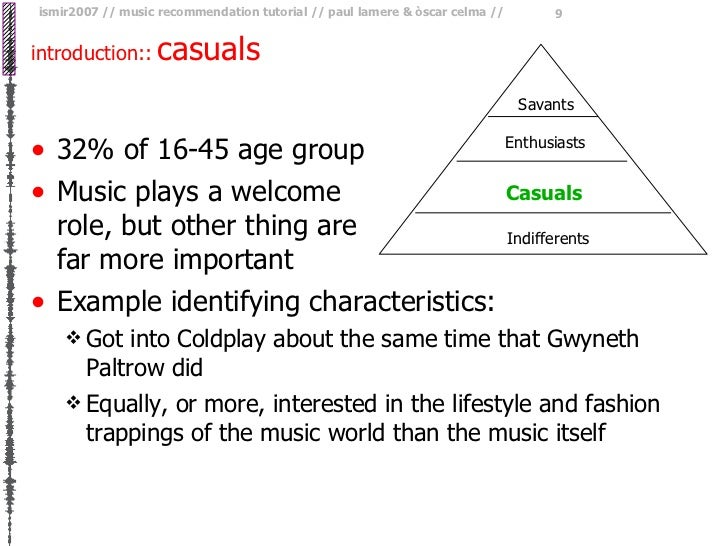 introduction::   casuals <ul><li>32% of 16-45 age group </li></ul><ul><li>Music plays a welcome  role, but other thing are...