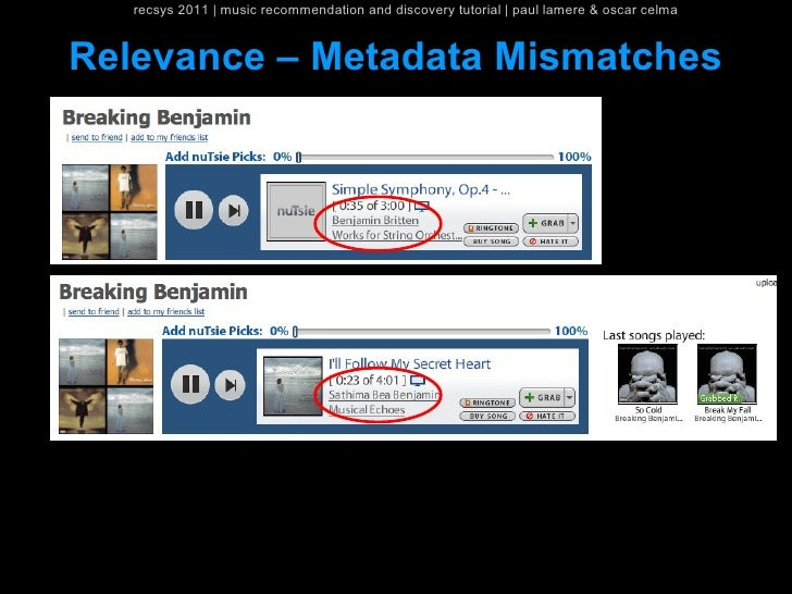 recsys 2011   music recommendation and discovery tutorial   paul lamere & oscar celmaRelevance – Metadata Mismatches