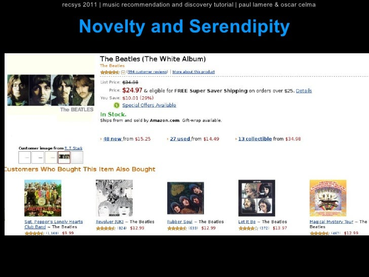recsys 2011   music recommendation and discovery tutorial   paul lamere & oscar celma     Novelty and Serendipity