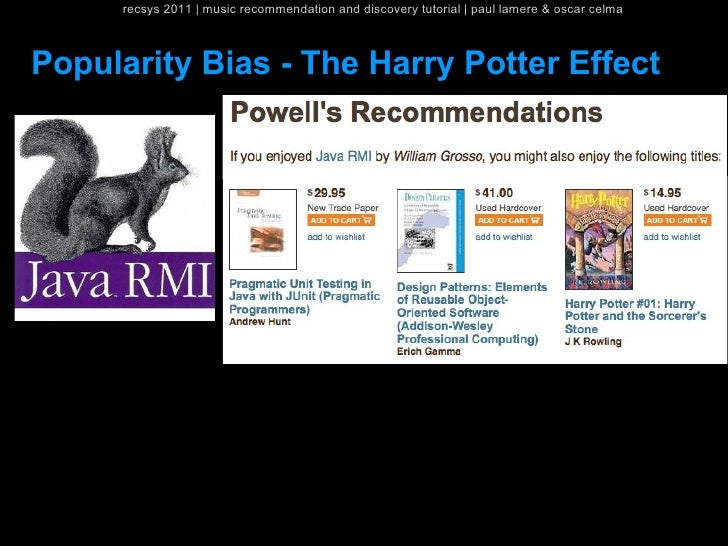 recsys 2011   music recommendation and discovery tutorial   paul lamere & oscar celmaPopularity Bias - The Harry Potter Ef...