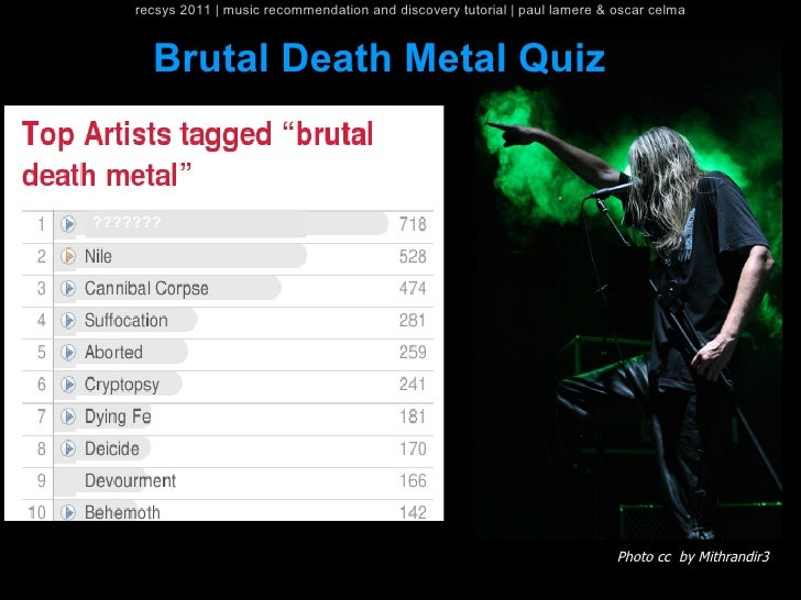 recsys 2011   music recommendation and discovery tutorial   paul lamere & oscar celma      Brutal Death Metal Quiz??????? ...