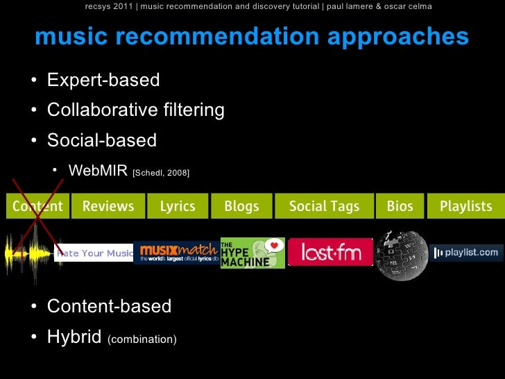 recsys 2011   music recommendation and discovery tutorial   paul lamere & oscar celma   music recommendation approaches  ●...