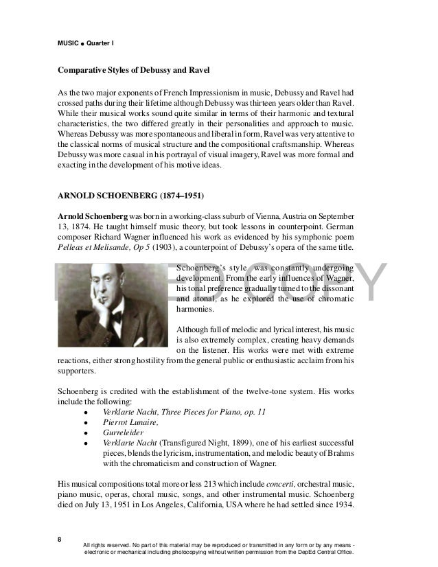 DEPED COPY MUSIC  Quarter I 8 Comparative Styles of Debussy and Ravel As the two major exponents of French Impressionism ...