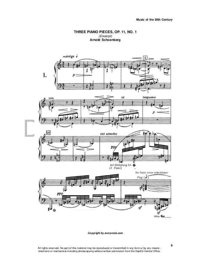 DEPED COPY Music of the 20th Century 9 THREE PIANO PIECES, OP. 11, NO. 1 (Excerpt) Arnold Schoenberg Copyright by everynot...